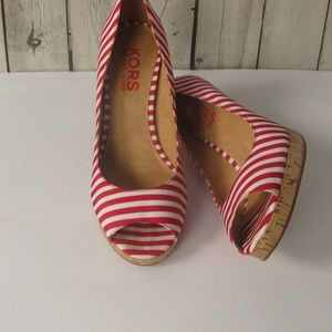 Michael Kors Red/White Striped Heels 8.5 E47